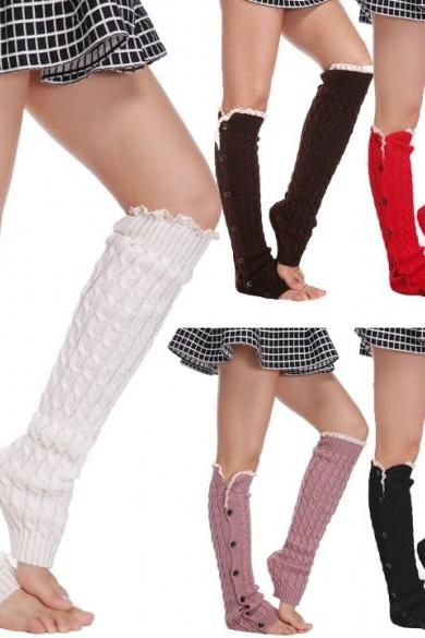 44bff91c0c969 New Women's Fashion Button Knit Crochet Leg Lace Warmer Leggings Socks