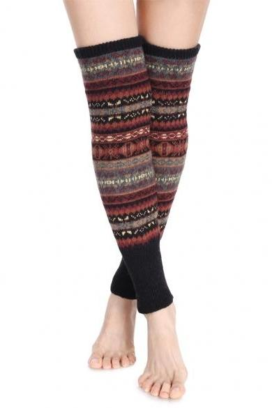 Avidlove Knee High Winter Bohemian Knit Crochet Leg Warmer