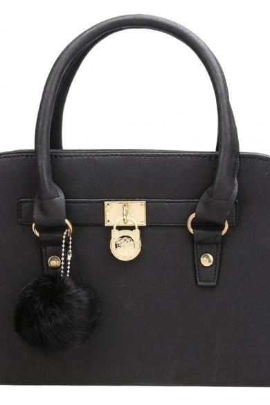 Synthetic Leather Tote Bag Handbag with Pompoms Keychain