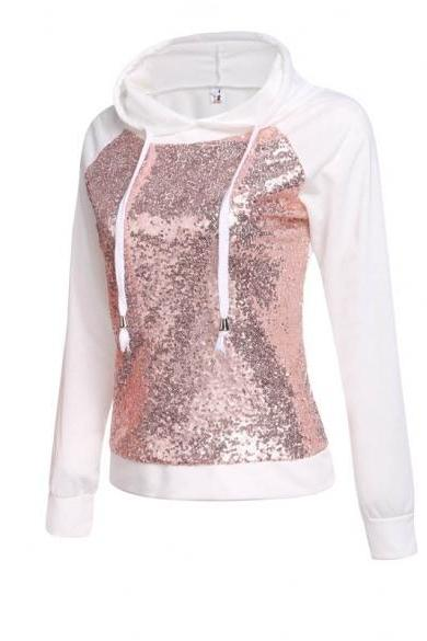 Women's Casual Drawstring Hooded Long Sleeve Sequined Pullover Hoodie Sweatshirt