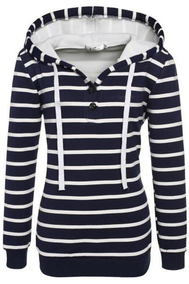 Angvns Ladies Women Casual Hooded Long Sleeve Striped Pullover Hoodies With Fleece