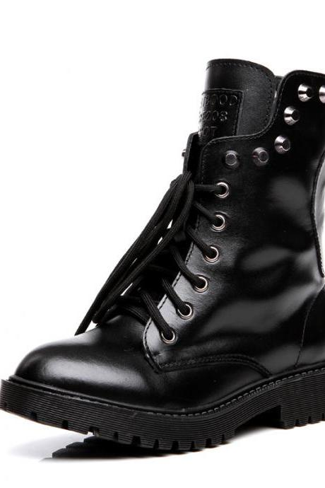 Retro Rivet Leather British Short Boots