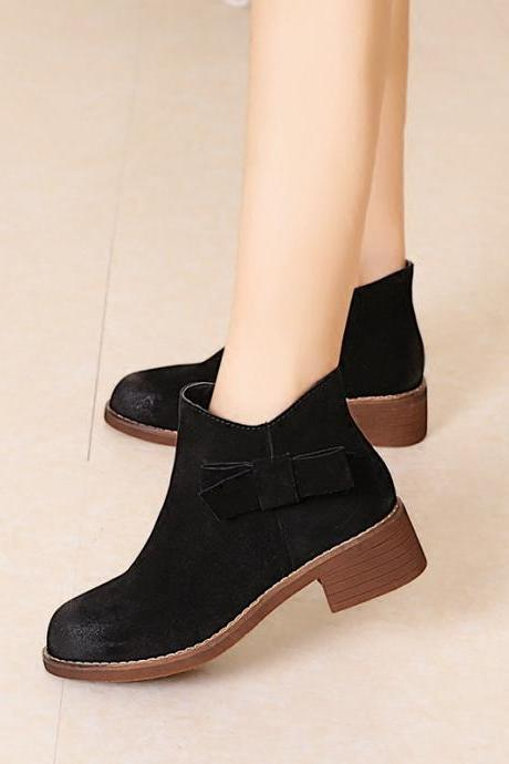 Hot Style Pointed Bowknot Leather Ankle Boots