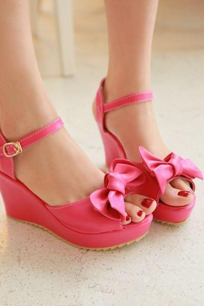 Bowknot Sweet Candy Color Peep-Toe Wedge Sandals