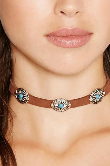 Bohemian Contracted Metal Faceplate Stone Collar Necklace