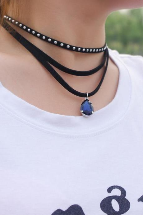 Punk Rivet Drops Stone Short Necklace