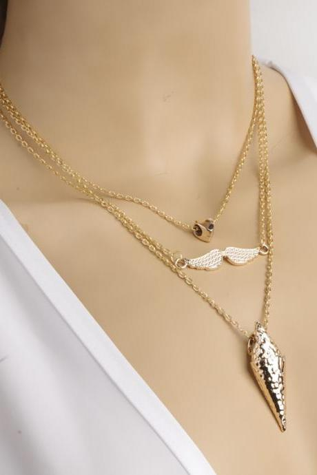Punk Combination Arrow Hearts Angel Wings Multilayer Necklace
