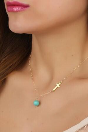 Manual Cross Clavicle Short Necklace