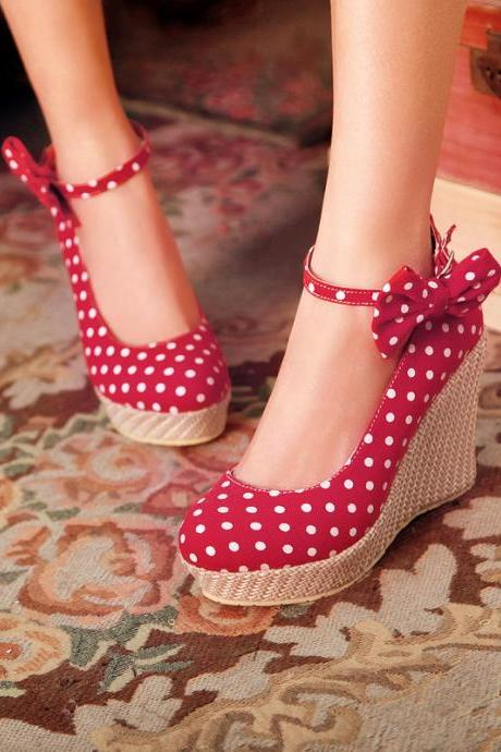 Removable Bowknot Wedges Buckles Thick Bottom Shoes