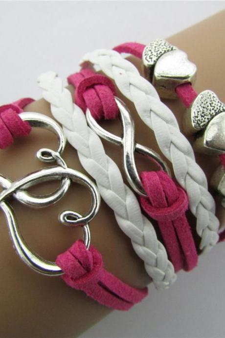 Retro Heart Hand-made Leather Cord Bracelet