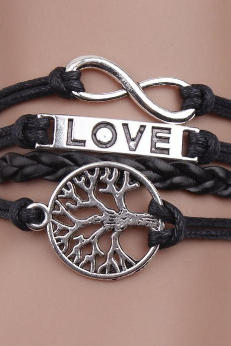 Love Tree Fashion Leather Cord Bracelet