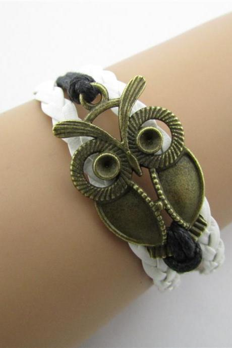 Retro Owl Multiple Leather Cord Bracelet