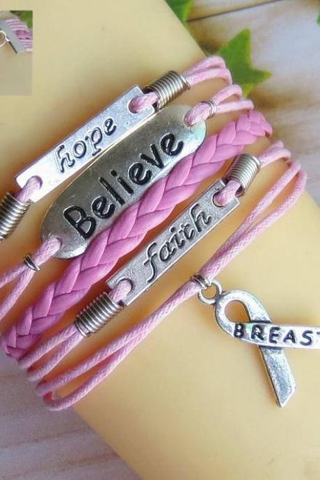 Pink Believe Hand-knitted Bracelet