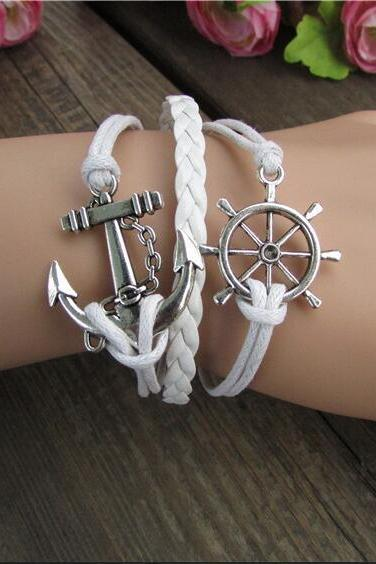 Bright Anchor Hand-made Leather Bracelet