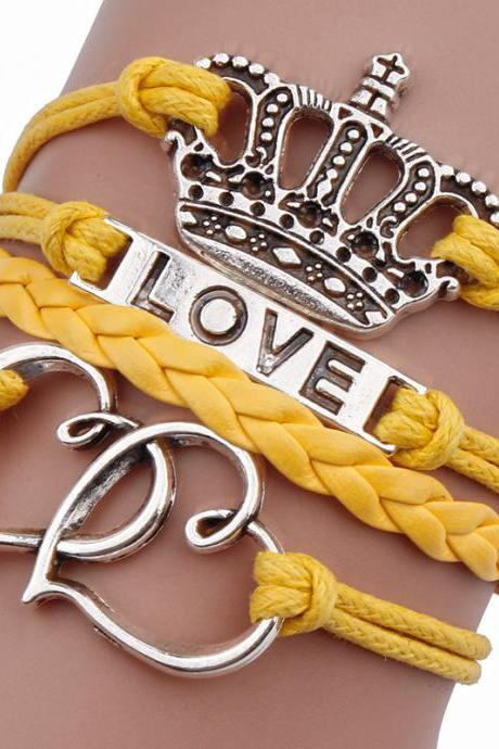 Double Heart Crown Love Leather Cord Bracelet