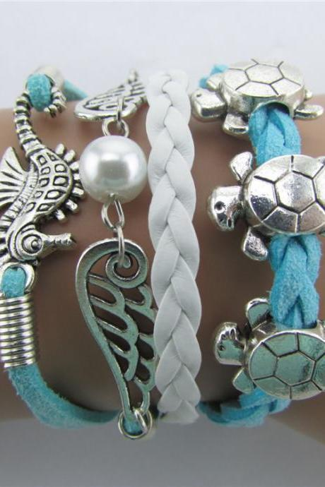 Tortoise Angel Wings Pearl Hippocampus Bracelet