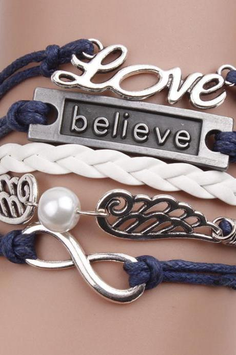 Fashion Love Believe Wings Element Bracelet