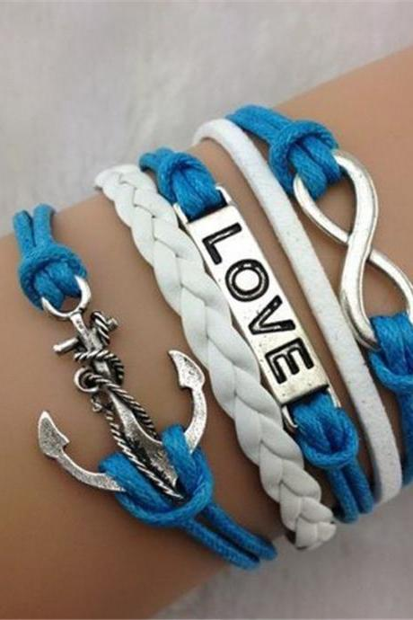 Anchor Number 8 LOVE Leather Cord Bracelet