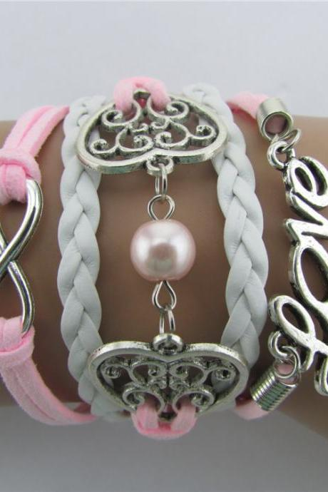 Exquisite Hollow Out Heart Pearl Bracelet