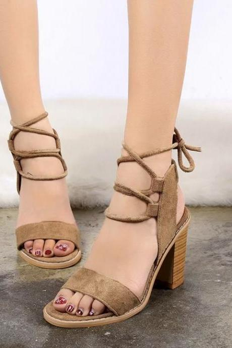 Suede Lace-Up Chunky Heel Sandals