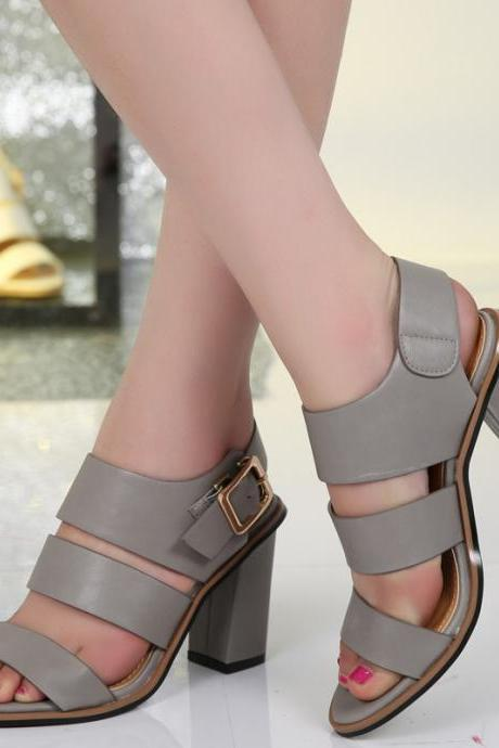 Roman Style High-Heeled PU Buckle Sandals