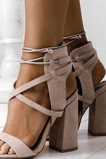 Suede Lace-Up Block Heel Sandals
