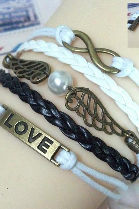 Romantic Angel's Wings Pearl Woven Bracelet