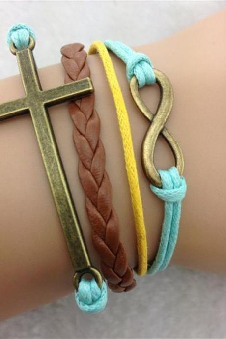Fashion Cross Multicolor Woven Bracelet