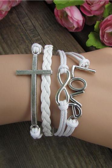 Unique Love Cross Pure Color Woven Bracelet