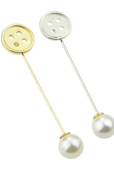 Simple Korean female character Pearl Brooch
