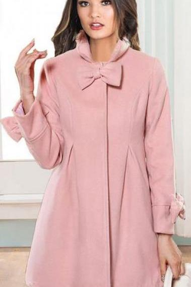 Bowknot Long Sleeves Stand Collar Pure Color Flare Slim Coat