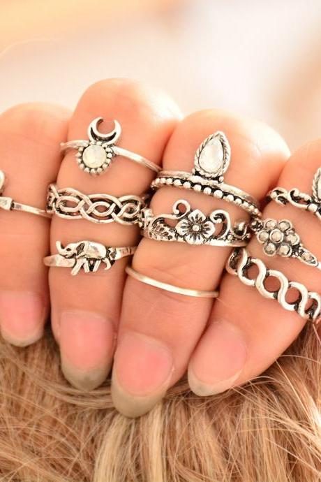 Women's Stackable Fashion Crystal Metal Ring Set