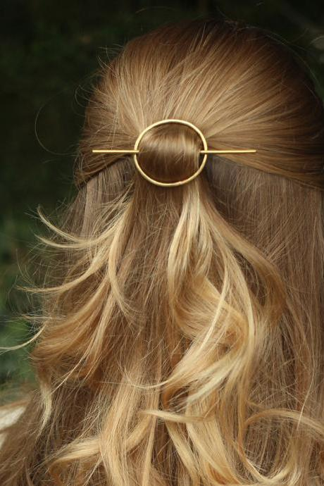 Minimal Circle Geometric Hair Pin - Gold / Silver