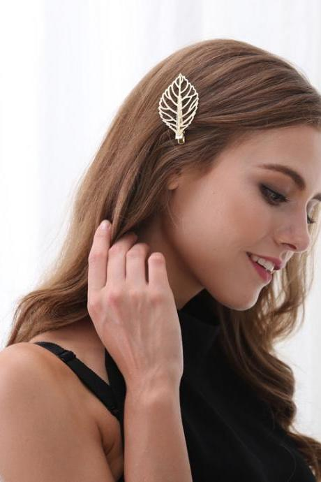 Metal Leaves Women's Hair Clips