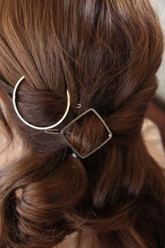 Minimalist Geometric Semi Circle and Diamond Shaped Hair Clip - Gold / Silver