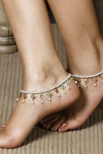 Pearl Crystal Tassel Single Anklet