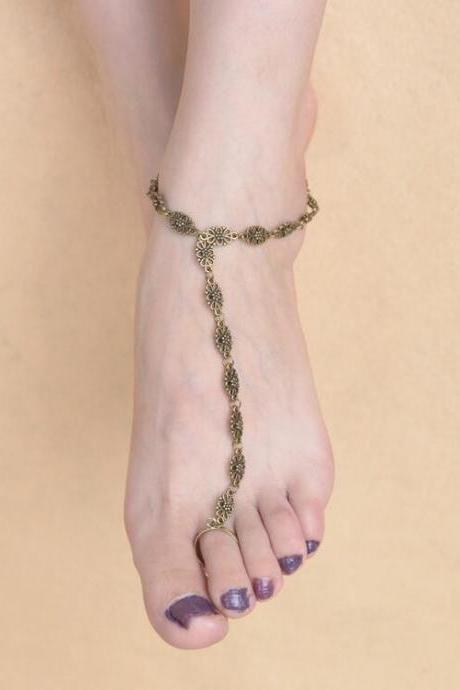 Simple Hollow Out Carving Anklet