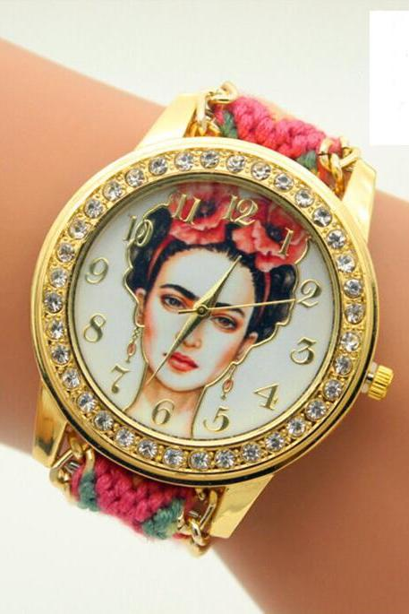 Beauty Women Print Woven Strap Watch