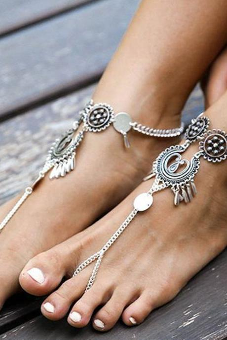 Exaggerate National Drop Pendant Tassel Anklet