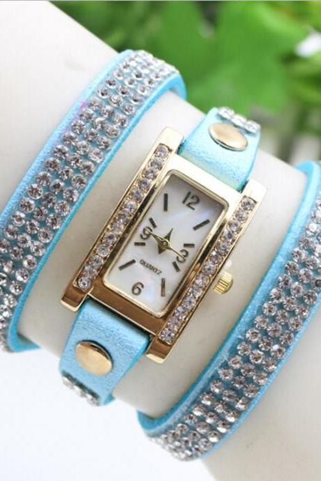 High-End Rectangle Crystal Lady's Watch