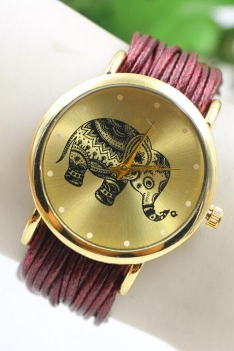 Elephant Print Multilayer Leather Watch
