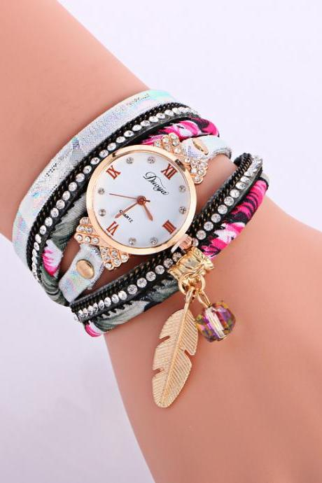 Leaf Pendant Floral Print Women's Watch