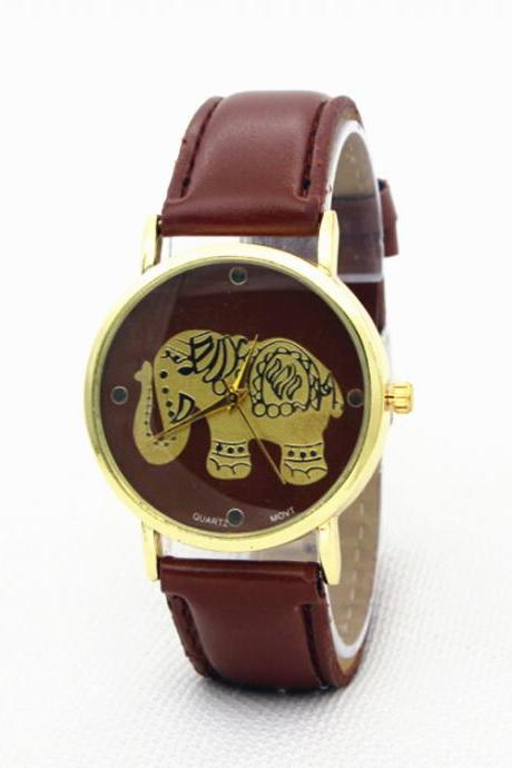 Simple Elephant Print Leather Watch