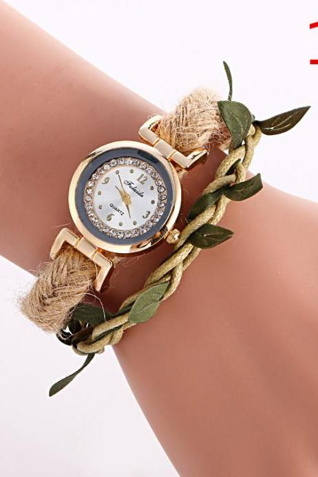 Adjustable Leaves Woven Watch
