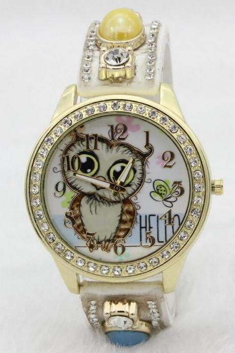 Oval Stones Owl Print Watch