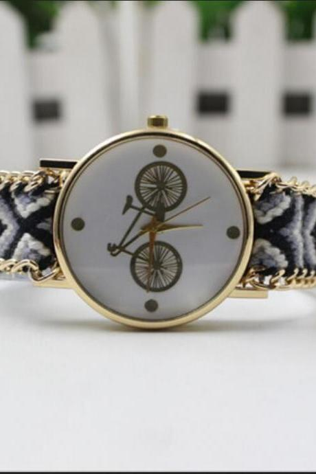 Bicycle Print Colorful Woven Watch
