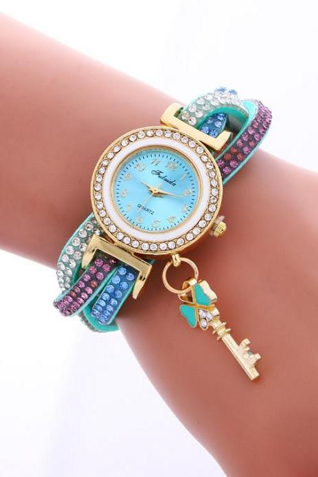 Colorful Crystal Twist Strap Key Watch