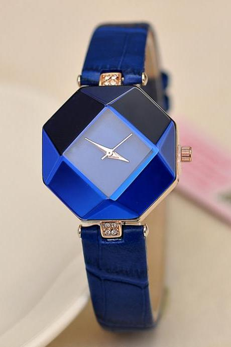 Fashion Rhombus Mirror Couple Watch