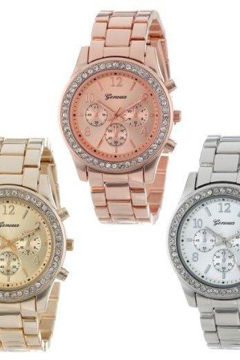 Crystal Three Eyes Alloy Strap Watch