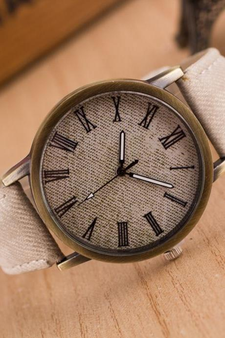 Classic Denim Strap Roman Number Watch